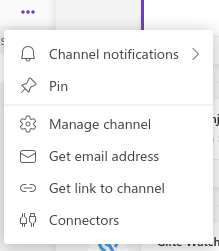 Microsoft Teams channel options